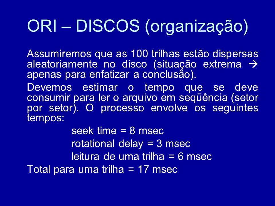 ORI – DISCOS (organização) Assumiremos que as 100 trilhas estão dispersas aleatoriamente no disco (situação extrema apenas para enfatizar a conclusão).