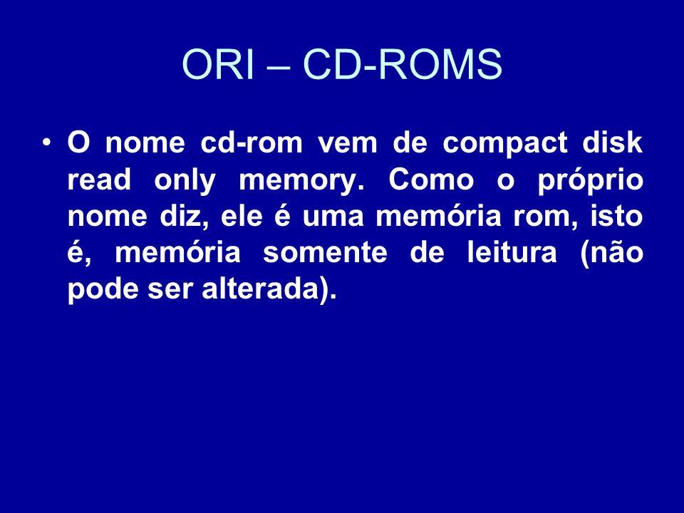 ORI – CD-ROMS O nome cd-rom vem de compact disk read only memory.