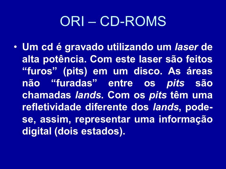 ORI – CD-ROMS Um cd é gravado utilizando um laser de alta potência.