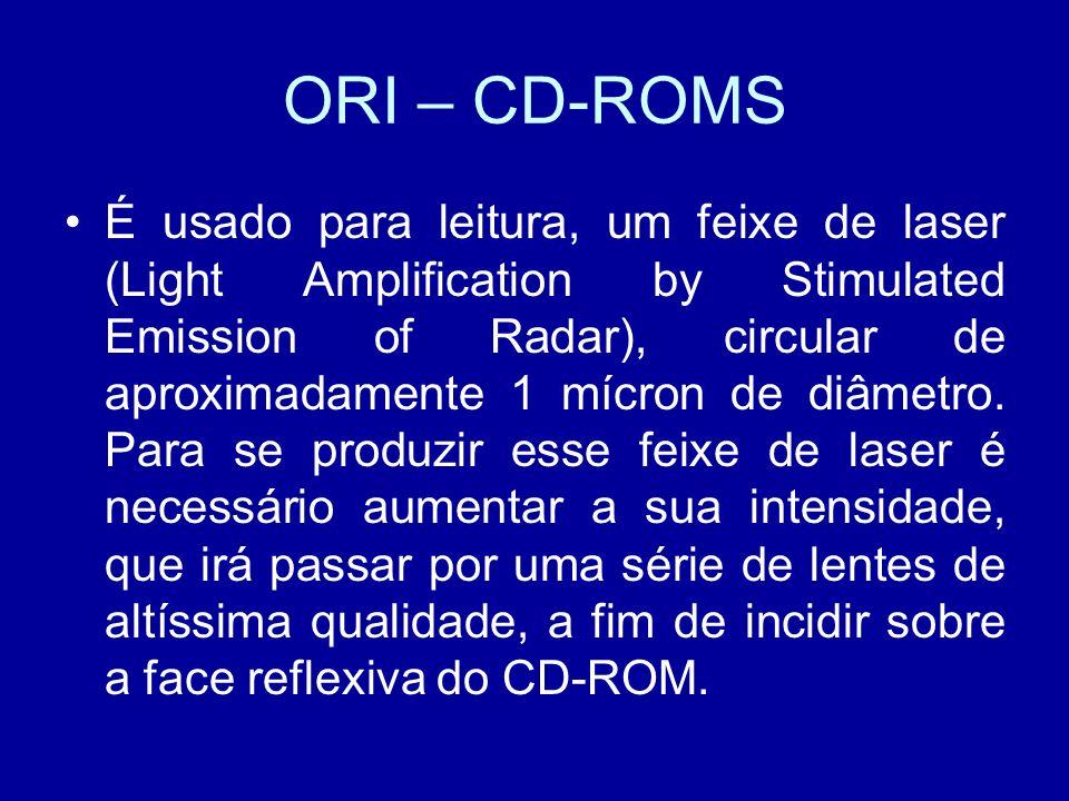 ORI – CD-ROMS É usado para leitura, um feixe de laser (Light Amplification by Stimulated Emission of Radar), circular de aproximadamente 1 mícron de diâmetro.