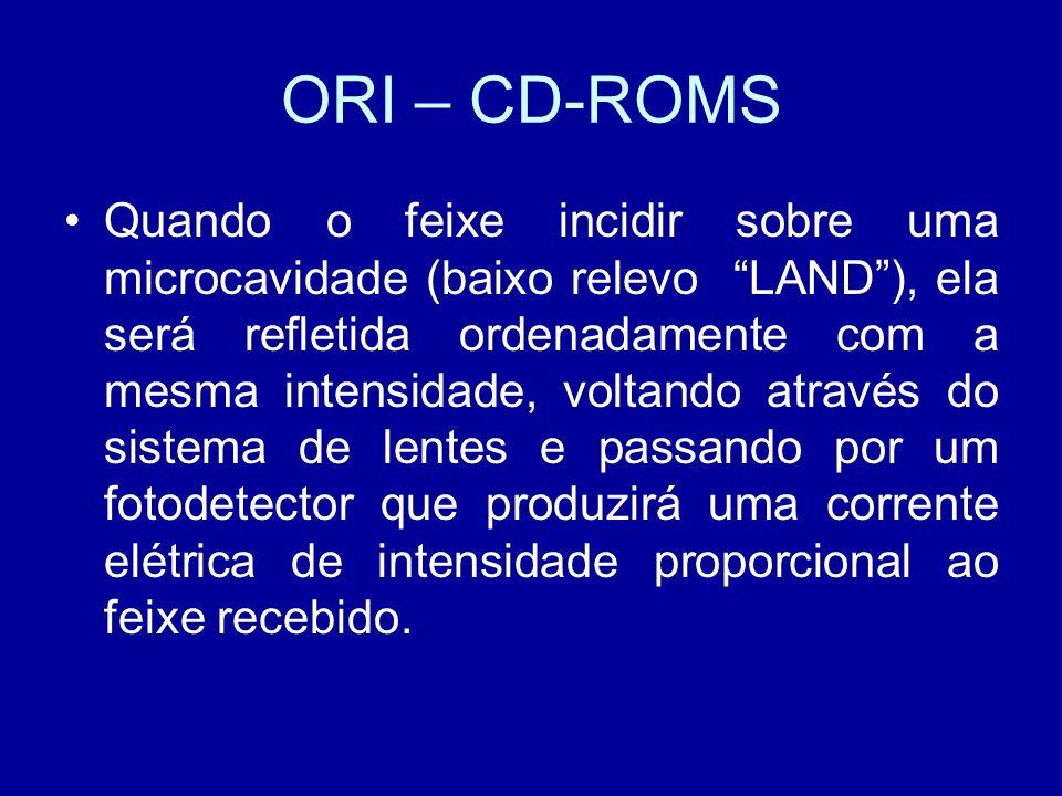 ORI – CD-ROMS Quando o feixe incidir sobre uma microcavidade (baixo relevo LAND), ela será refletida ordenadamente com a mesma intensidade, voltando através do sistema de lentes e passando por um fotodetector que produzirá uma corrente elétrica de intensidade proporcional ao feixe recebido.