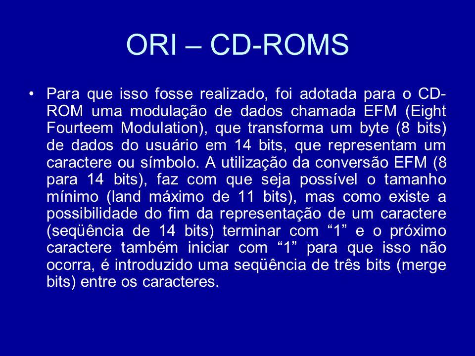 ORI – CD-ROMS Para que isso fosse realizado, foi adotada para o CD- ROM uma modulação de dados chamada EFM (Eight Fourteem Modulation), que transforma um byte (8 bits) de dados do usuário em 14 bits, que representam um caractere ou símbolo.