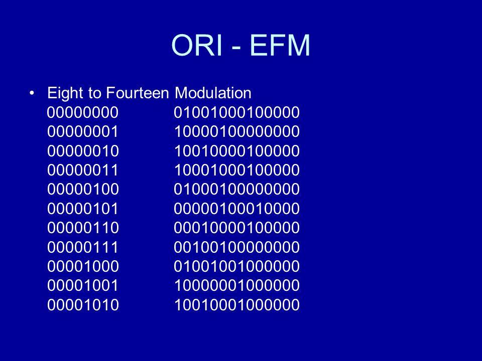 ORI - EFM Eight to Fourteen Modulation 00000000 01001000100000 00000001 10000100000000 0000001010010000100000 00000011 10001000100000 00000100 01000100000000 00000101 00000100010000 00000110 00010000100000 00000111 00100100000000 00001000 01001001000000 00001001 10000001000000 00001010 10010001000000