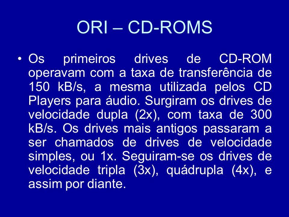 ORI – CD-ROMS Os primeiros drives de CD-ROM operavam com a taxa de transferência de 150 kB/s, a mesma utilizada pelos CD Players para áudio.