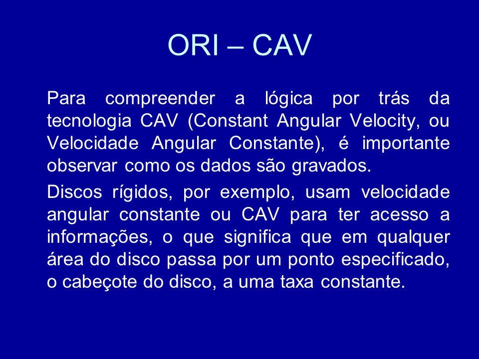 ORI – CAV Para compreender a lógica por trás da tecnologia CAV (Constant Angular Velocity, ou Velocidade Angular Constante), é importante observar como os dados são gravados.