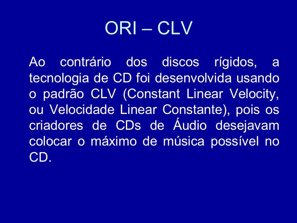 ORI – CLV Ao contrário dos discos rígidos, a tecnologia de CD foi desenvolvida usando o padrão CLV (Constant Linear Velocity, ou Velocidade Linear Constante), pois os criadores de CDs de Áudio desejavam colocar o máximo de música possível no CD.