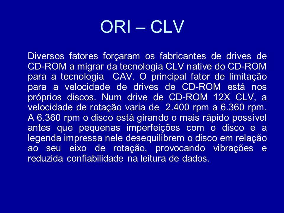 ORI – CLV Diversos fatores forçaram os fabricantes de drives de CD-ROM a migrar da tecnologia CLV native do CD-ROM para a tecnologia CAV.
