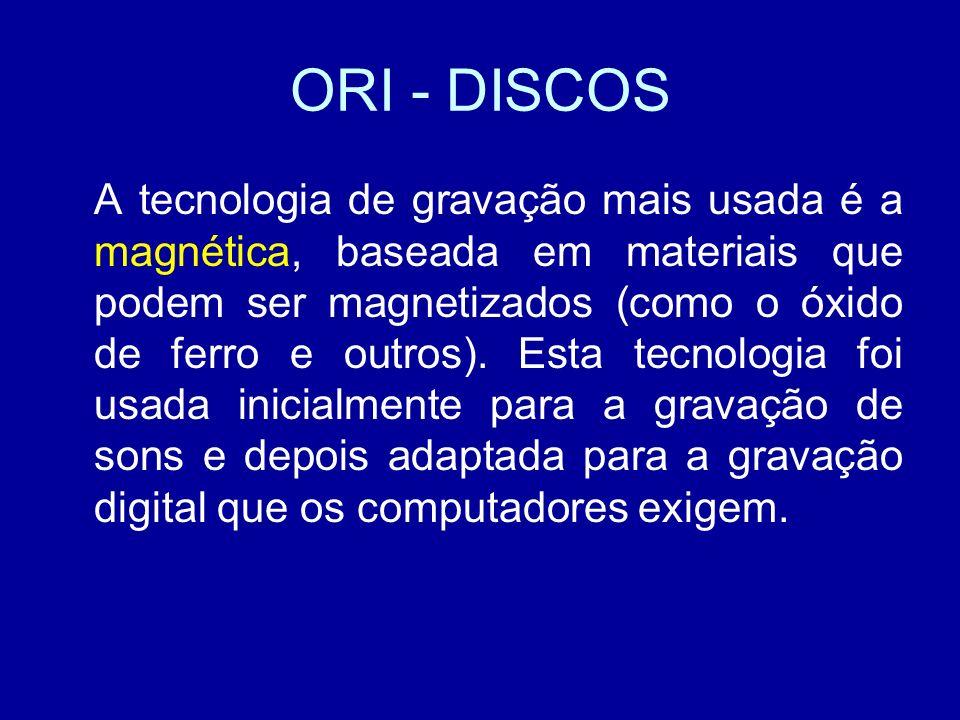 ORI - DISCOS A tecnologia de gravação mais usada é a magnética, baseada em materiais que podem ser magnetizados (como o óxido de ferro e outros).