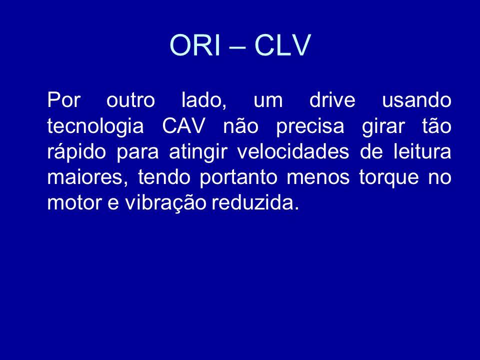 ORI – CLV Por outro lado, um drive usando tecnologia CAV não precisa girar tão rápido para atingir velocidades de leitura maiores, tendo portanto menos torque no motor e vibração reduzida.