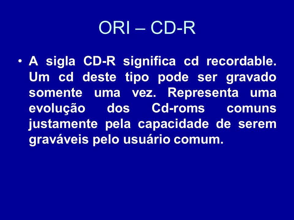 ORI – CD-R A sigla CD-R significa cd recordable.Um cd deste tipo pode ser gravado somente uma vez.