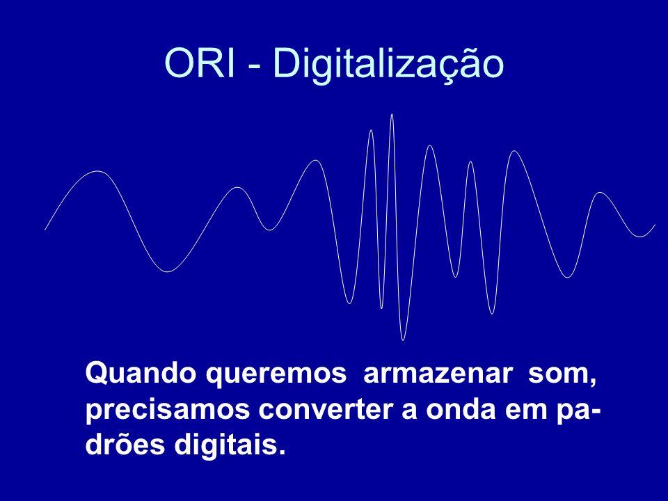 ORI - Digitalização Quando queremos armazenar som, precisamos converter a onda em pa- drões digitais.