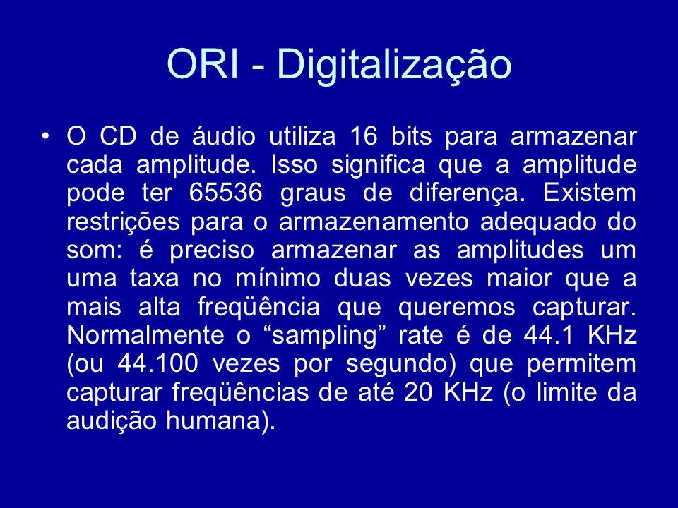 O CD de áudio utiliza 16 bits para armazenar cada amplitude.