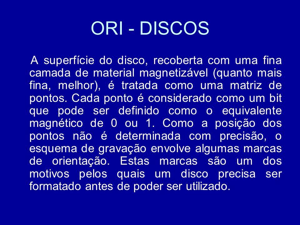 ORI - DISCOS A superfície do disco, recoberta com uma fina camada de material magnetizável (quanto mais fina, melhor), é tratada como uma matriz de pontos.