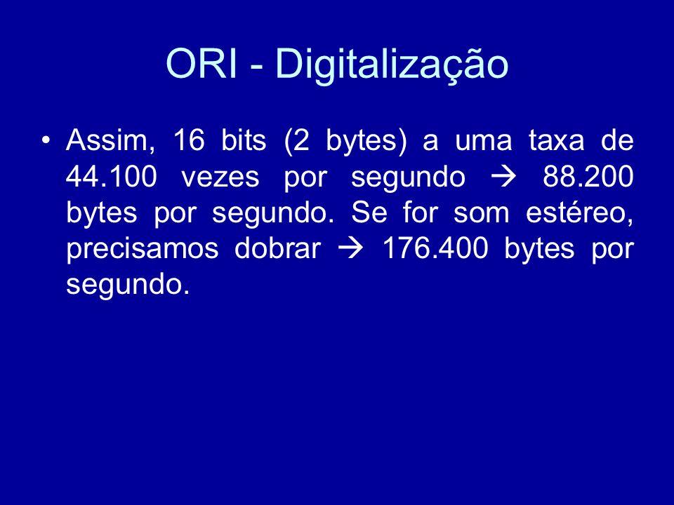 ORI - Digitalização Assim, 16 bits (2 bytes) a uma taxa de 44.100 vezes por segundo 88.200 bytes por segundo.