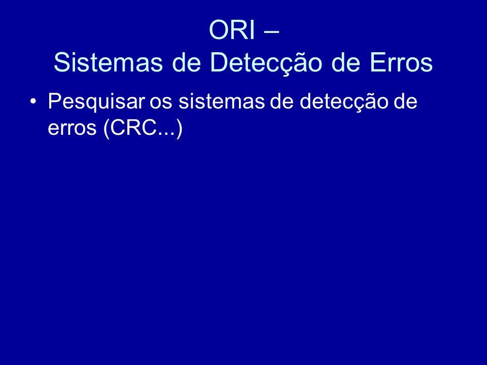 ORI – Sistemas de Detecção de Erros Pesquisar os sistemas de detecção de erros (CRC...)