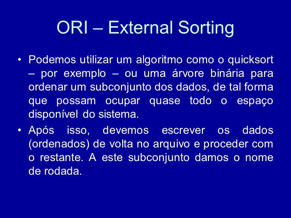 ORI – External Sorting Podemos utilizar um algoritmo como o quicksort – por exemplo – ou uma árvore binária para ordenar um subconjunto dos dados, de tal forma que possam ocupar quase todo o espaço disponível do sistema.