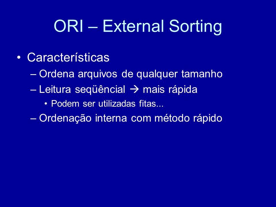 ORI – External Sorting Características –Ordena arquivos de qualquer tamanho –Leitura seqüêncial mais rápida Podem ser utilizadas fitas...