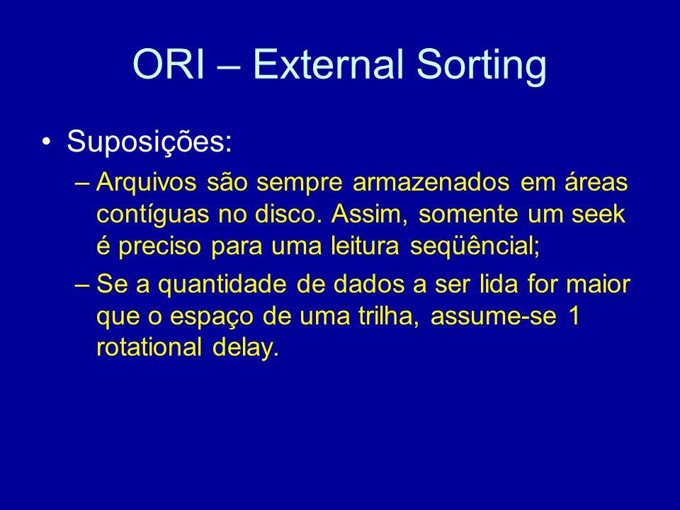 ORI – External Sorting Suposições: –Arquivos são sempre armazenados em áreas contíguas no disco.