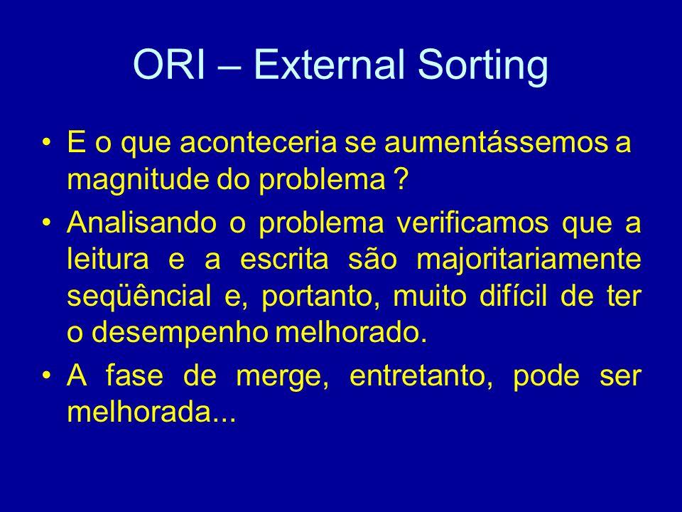ORI – External Sorting E o que aconteceria se aumentássemos a magnitude do problema .