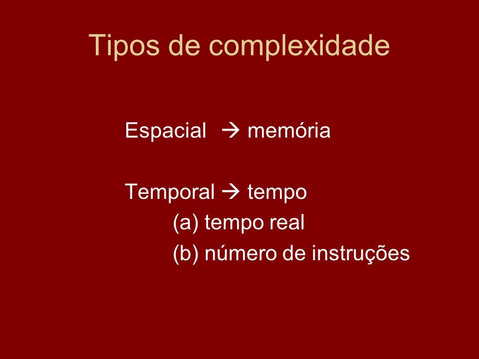 Tipos de complexidade Espacial memória Temporal tempo (a) tempo real (b) número de instruções