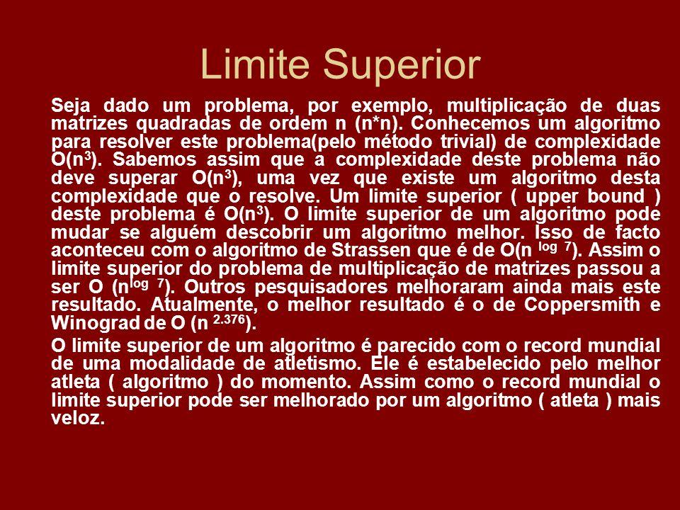 Limite Superior Seja dado um problema, por exemplo, multiplicação de duas matrizes quadradas de ordem n (n*n). Conhecemos um algoritmo para resolver e