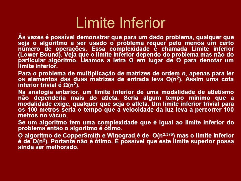 Limite Inferior Às vezes é possível demonstrar que para um dado problema, qualquer que seja o algoritmo a ser usado o problema requer pelo menos um ce