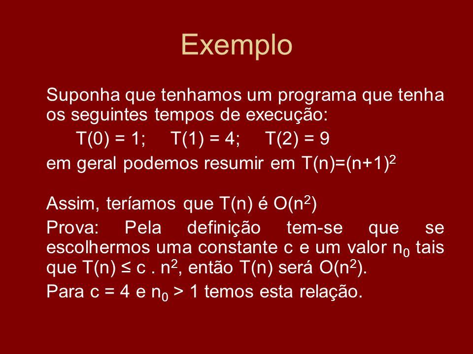 Exemplo Suponha que tenhamos um programa que tenha os seguintes tempos de execução: T(0) = 1;T(1) = 4; T(2) = 9 em geral podemos resumir em T(n)=(n+1)