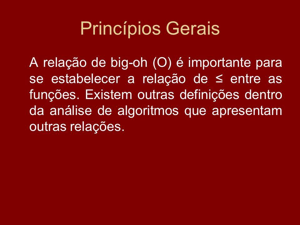 Princípios Gerais A relação de big-oh (O) é importante para se estabelecer a relação de entre as funções. Existem outras definições dentro da análise