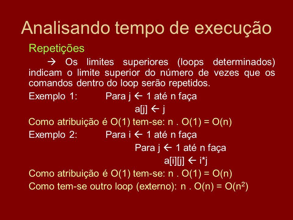Analisando tempo de execução Repetições Os limites superiores (loops determinados) indicam o limite superior do número de vezes que os comandos dentro