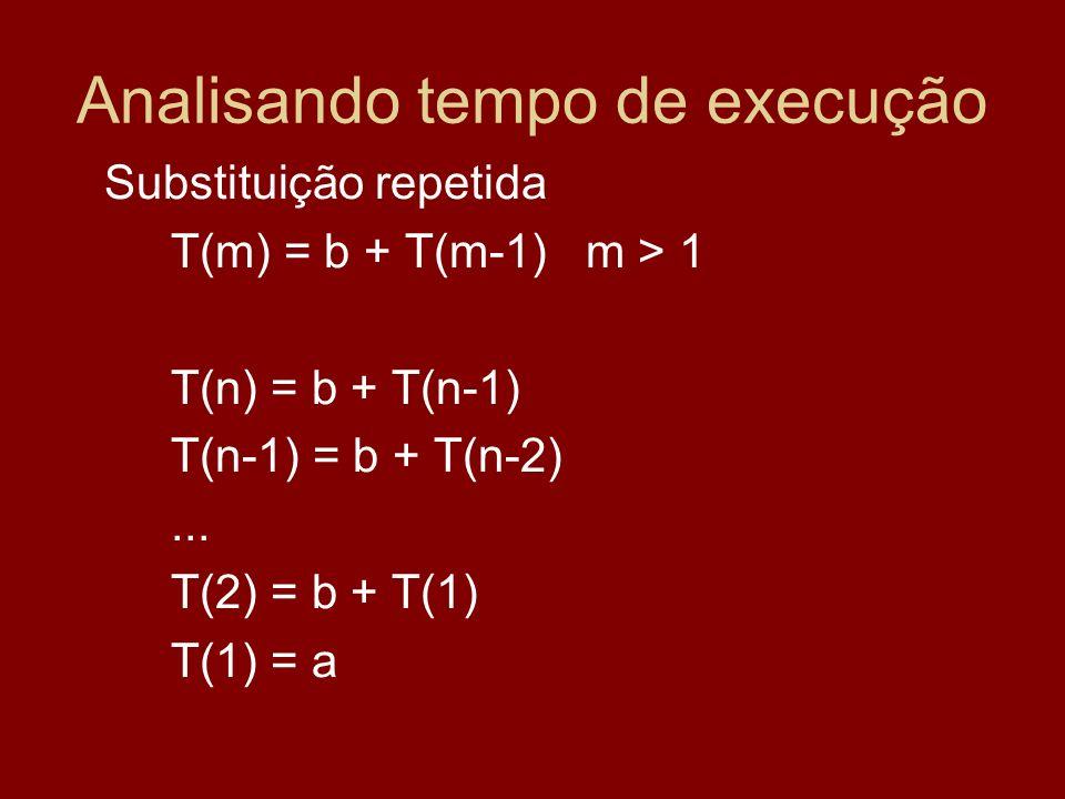 Analisando tempo de execução Substituição repetida T(m) = b + T(m-1) m > 1 T(n) = b + T(n-1) T(n-1) = b + T(n-2)... T(2) = b + T(1) T(1) = a