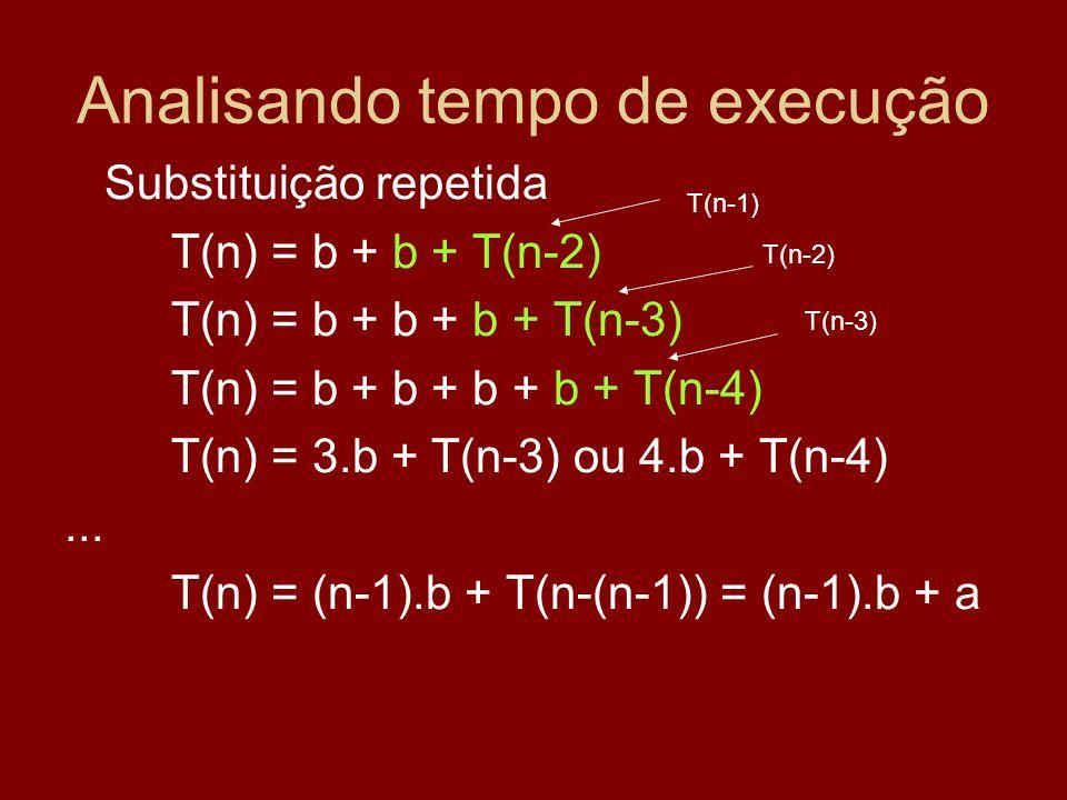 Analisando tempo de execução Substituição repetida T(n) = b + b + T(n-2) T(n) = b + b + b + T(n-3) T(n) = b + b + b + b + T(n-4) T(n) = 3.b + T(n-3) o