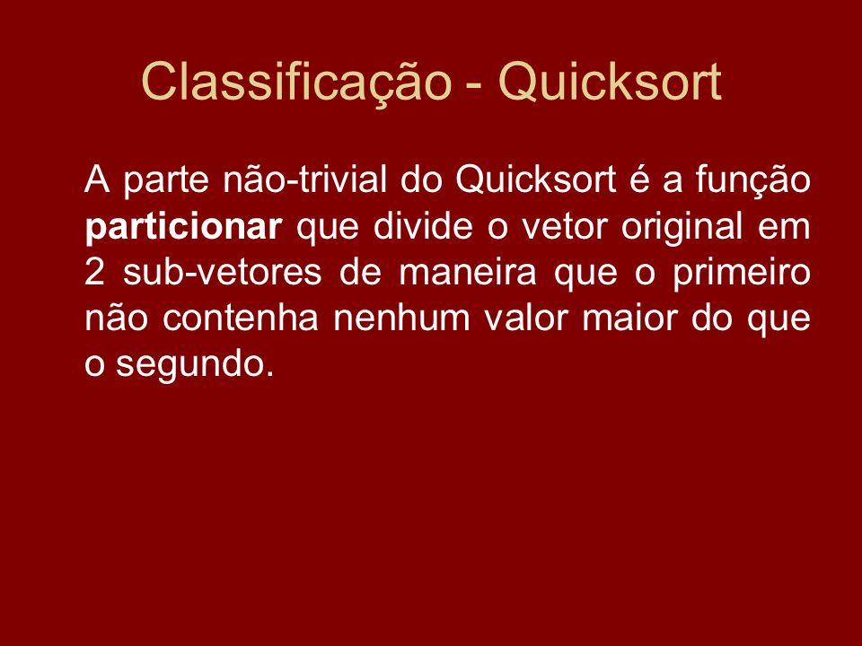 Classificação - Quicksort A parte não-trivial do Quicksort é a função particionar que divide o vetor original em 2 sub-vetores de maneira que o primei