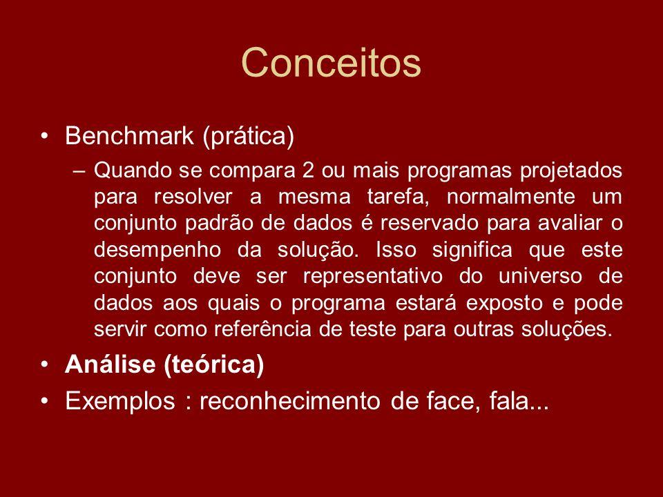 Conceitos Benchmark (prática) –Quando se compara 2 ou mais programas projetados para resolver a mesma tarefa, normalmente um conjunto padrão de dados
