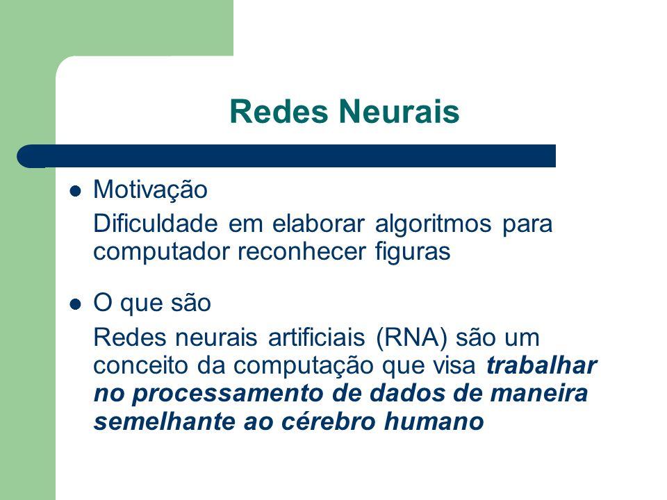 Redes Neurais Motivação Dificuldade em elaborar algoritmos para computador reconhecer figuras O que são Redes neurais artificiais (RNA) são um conceit