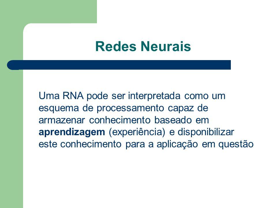 Redes Neurais Uma RNA pode ser interpretada como um esquema de processamento capaz de armazenar conhecimento baseado em aprendizagem (experiência) e d