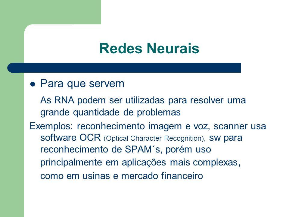 Redes Neurais Para que servem As RNA podem ser utilizadas para resolver uma grande quantidade de problemas Exemplos: reconhecimento imagem e voz, scan