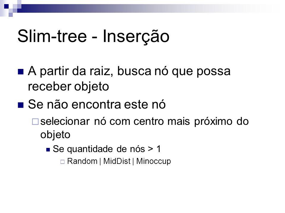 Slim-tree - Inserção A partir da raiz, busca nó que possa receber objeto Se não encontra este nó selecionar nó com centro mais próximo do objeto Se qu