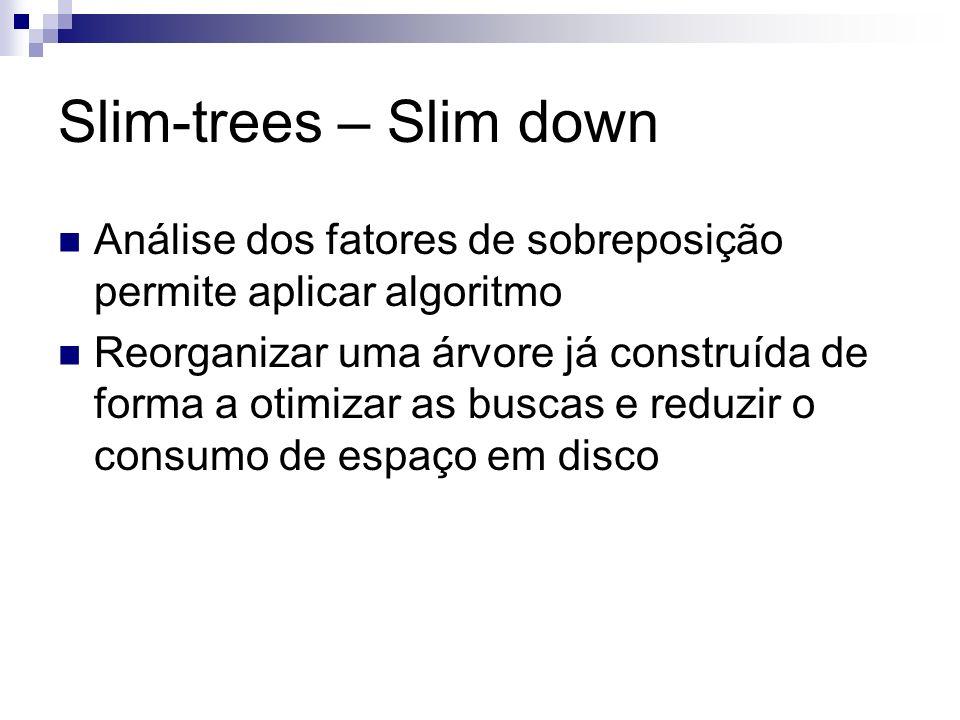 Slim-trees – Slim down Análise dos fatores de sobreposição permite aplicar algoritmo Reorganizar uma árvore já construída de forma a otimizar as busca