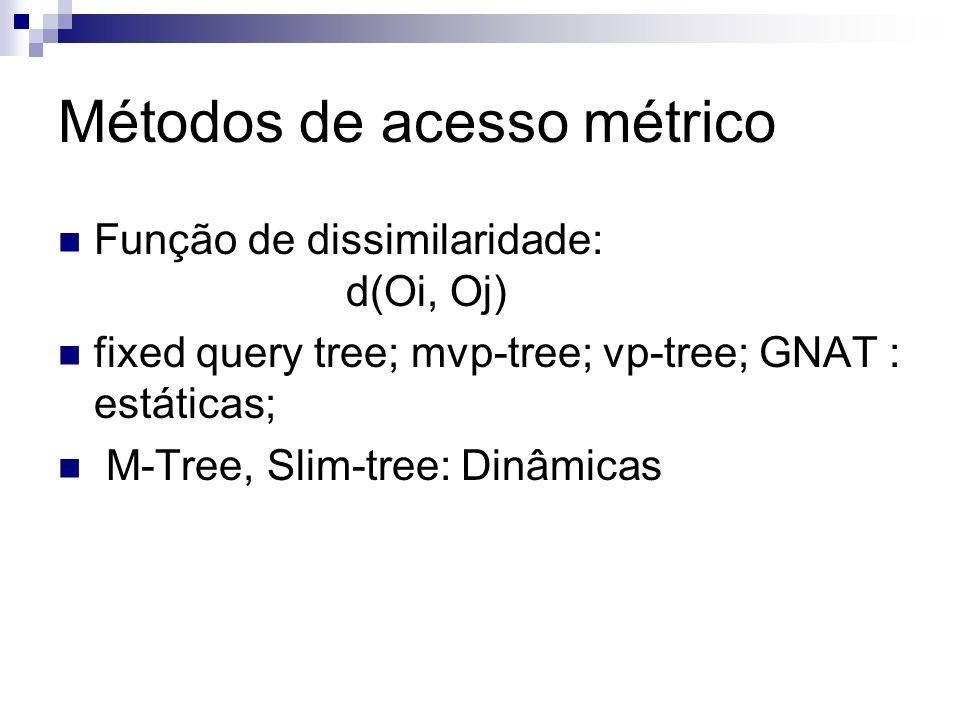 Métodos de acesso métrico Função de dissimilaridade: d(Oi, Oj) fixed query tree; mvp-tree; vp-tree; GNAT : estáticas; M-Tree, Slim-tree: Dinâmicas