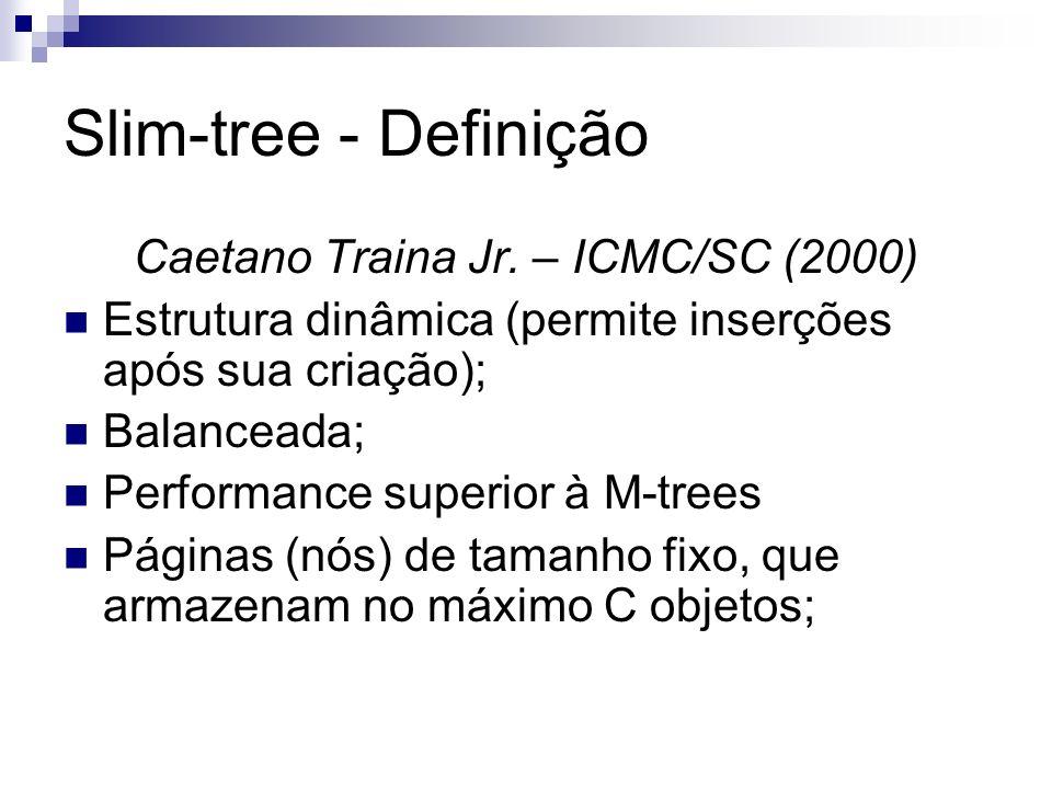 Slim-tree – Nós internos Sc: Objeto Centro da subárvore apontada por Ptrc d(Sc, Srep): Distância entre Sc e o objeto representado; Ptrc: Nó raiz da subárvore que contém centro Sc; Rc: Raio de cobertura da região; #Ent: Número de nós contido em Ptrc