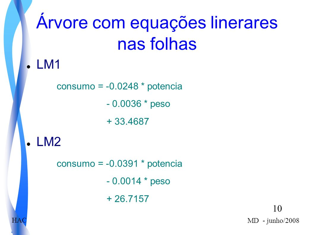 10 MD - junho/2008 HAC Árvore com equações linerares nas folhas LM1 consumo = -0.0248 * potencia - 0.0036 * peso + 33.4687 LM2 consumo = -0.0391 * potencia - 0.0014 * peso + 26.7157
