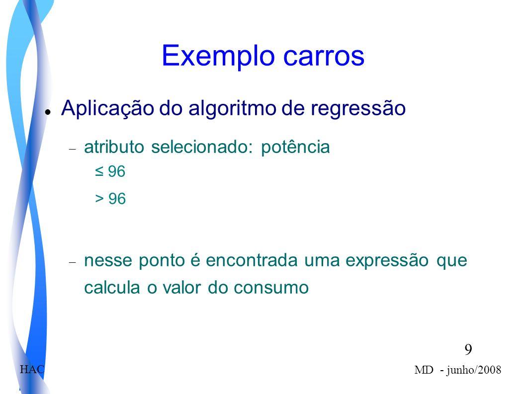 9 MD - junho/2008 HAC Aplicação do algoritmo de regressão atributo selecionado: potência 96 > 96 nesse ponto é encontrada uma expressão que calcula o valor do consumo Exemplo carros