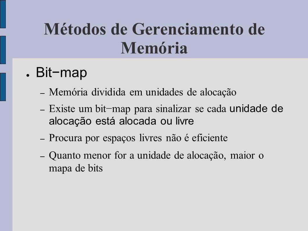 Métodos de Gerenciamento de Memória Listas encadeadas – Existe uma lista ligada que relaciona os blocos de memória alocados e livres – Normalmente a lista é ordenada por endereço