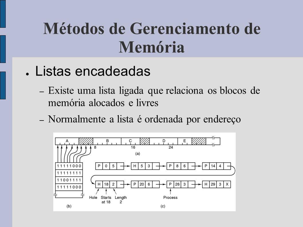 Antes do Processo Depois do Processo X terminar X terminar (a)se torna (b) se torna (c) se torna (d) se torna Combinação de vizinhanças do processo X (a) A atualização da lista requer a troca de um processo P por um buraco B (b) e (c) Duas entradas são unidas numa só, e a lista fica com uma entrada a menos (d) Três entradas são fundidas numa só e dois itens são removidos da lista Algoritmos de Alocação de memória