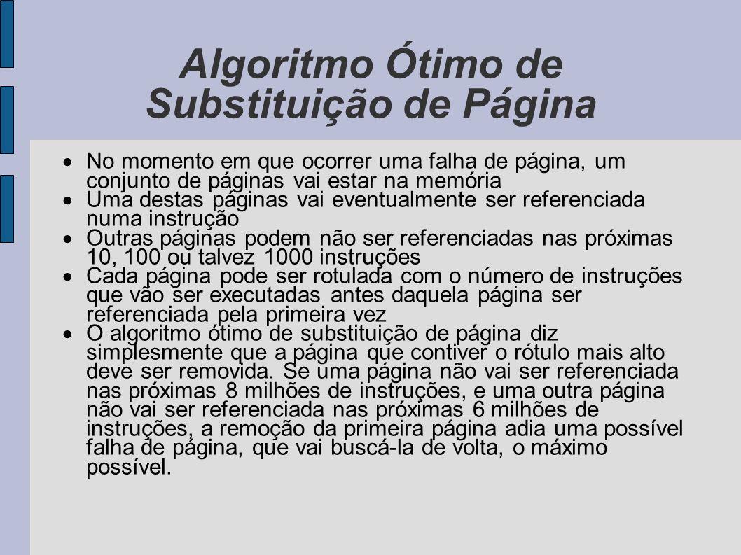 Algoritmo Ótimo de Substituição de Página O melhor algoritmo possível de substituição de página é fácil de descrever mas impossível de implementar.