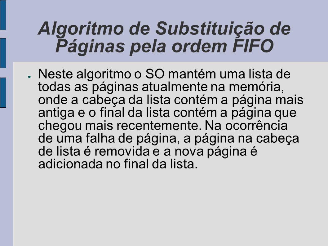 Algoritmo de Substituição de Páginas pela ordem FIFO O problema com a FIFO é que uma página altamente utilizada pode ser retirada da memória.