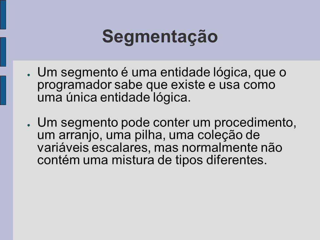 Segmentação Com uma memória unidimensional, os procedimentos são empacotados uns próximos aos outros, sem qualquer espaço de endereços entre eles.