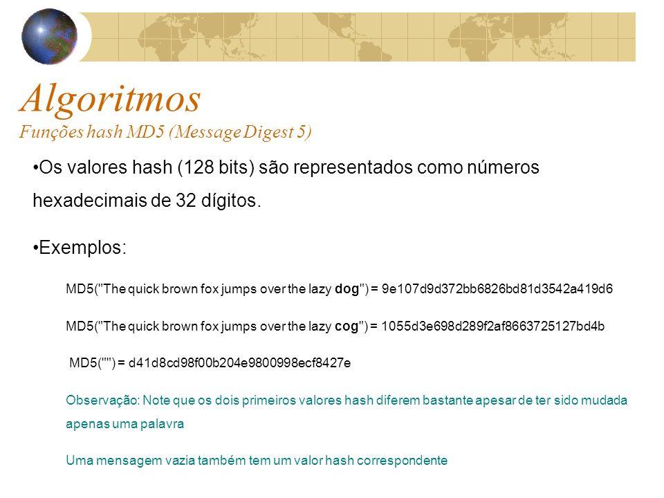 Algoritmos Funções hash MD5 (Message Digest 5) Os valores hash (128 bits) são representados como números hexadecimais de 32 dígitos.