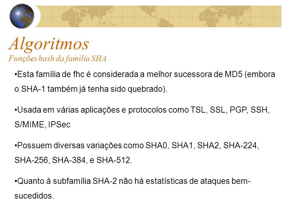 Algoritmos Funções hash da família SHA Esta família de fhc é considerada a melhor sucessora de MD5 (embora o SHA-1 também já tenha sido quebrado).
