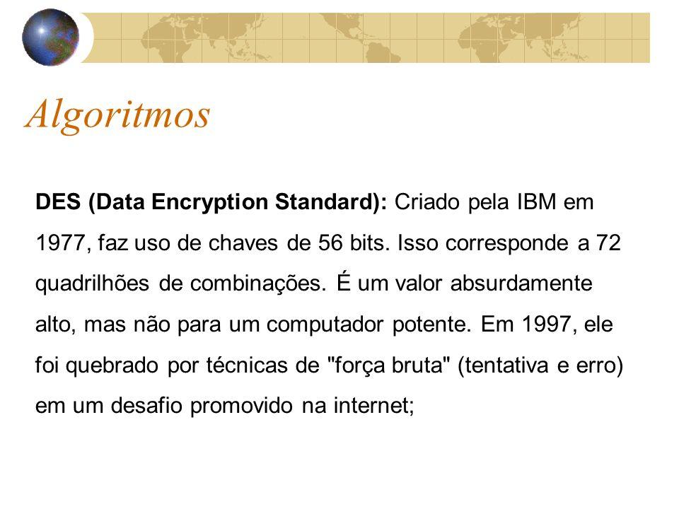 Algoritmos DES (Data Encryption Standard): Criado pela IBM em 1977, faz uso de chaves de 56 bits.